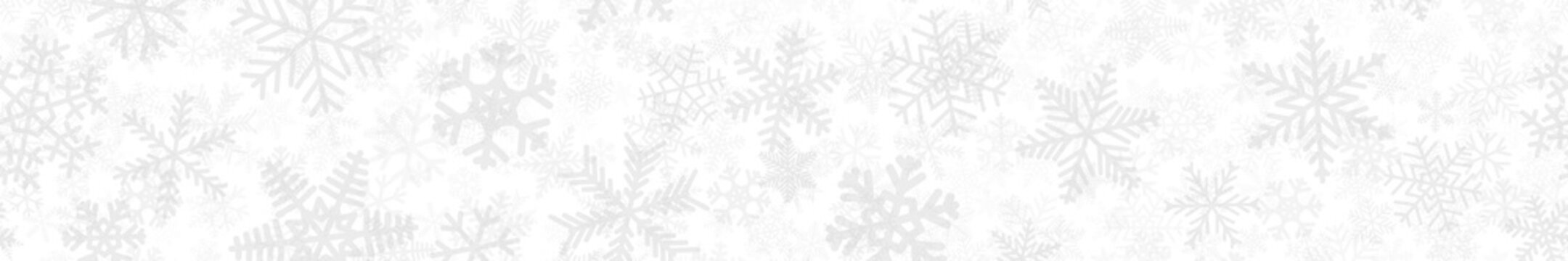 Christmas horizontal seamless banner of many layers of snowflakes of different shapes, sizes and transparency. Light gray on white
