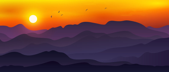 Tuinposter Aubergine Illustration of vast mountain landscape combined with moon/sun, Orange sky and flying birds.