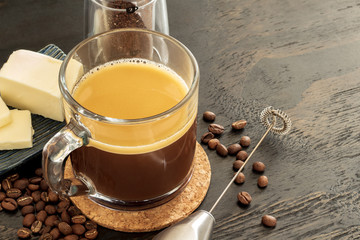 bulletproof coffee, keto beverage with grass fed butter