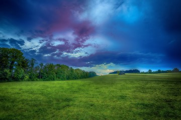 Beautiful shot of a grassy field with trees under a blue cloudy sky