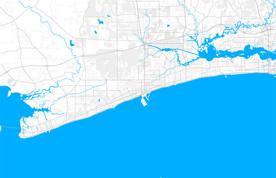 Rich detailed vector map of Gulfport, Mississippi, USA