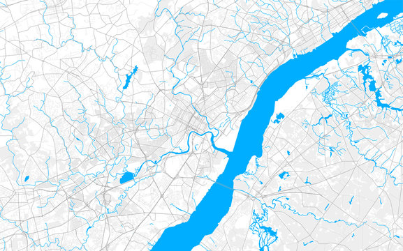 Rich detailed vector map of Wilmington, Delaware, USA