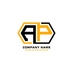 AP initial letters looping linked hexagon elegant logo color blue, black, yellow