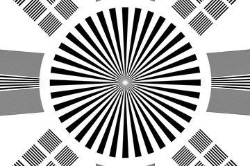 Black and white rays abstract background, can use for test the resolution and focus of cameras and photo or cinema lens.