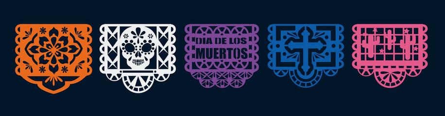 Dia de los Muertos decoration vector. Papel picado for day of the dead.