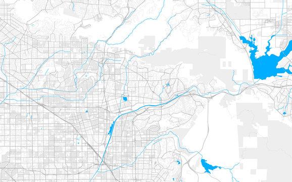 Rich detailed vector map of Yorba Linda, California, USA