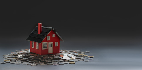 Real estate and property investment concept : small house model on stack of coins