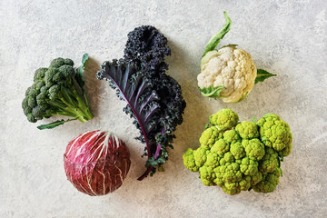 Cabbage of different varieties on a light background, cauliflower, radicchio, broccoli, Kale.