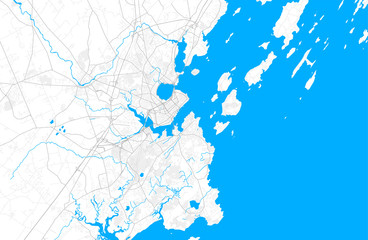Rich detailed vector map of Portland, Maine, USA