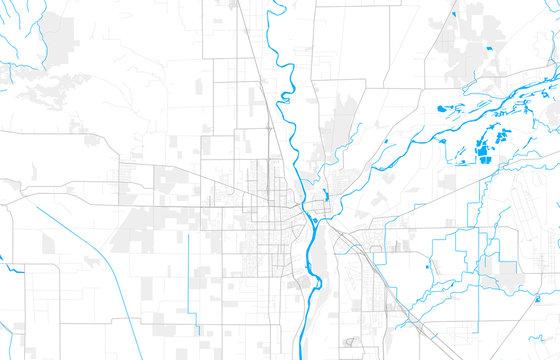 Rich detailed vector map of Yuba City, California, USA