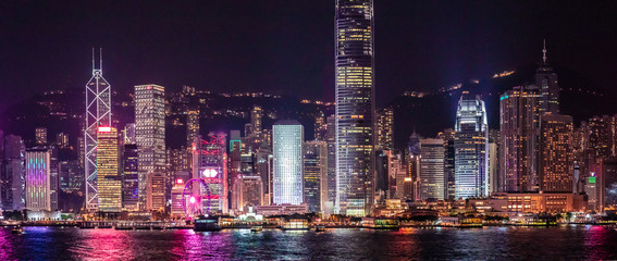 Fototapete - Iconic Hong Kong Night View, Victoria Harbour
