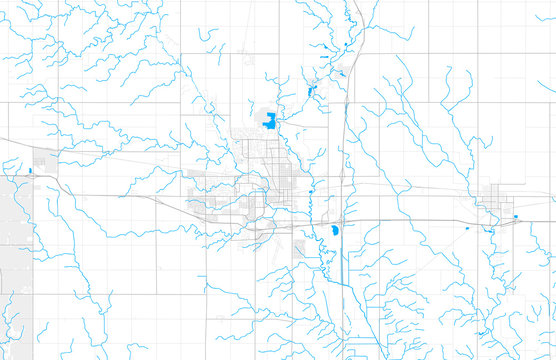 Rich detailed vector map of Ames, Iowa, USA