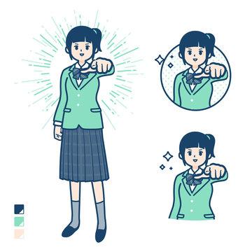 simple school girl Green Blazer_want you