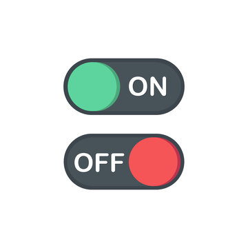 Flat icon On and Off Toggle switch button vector format