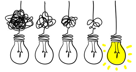 Simplifying the complex, confusion clarity or path vector idea concept with lightbulbs doodle illustration