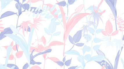 Flowers and foliage seamless pattern, various leaves and flowers in pastel pink, blue and purple on white