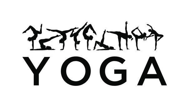 set women yoga icon logo pose template