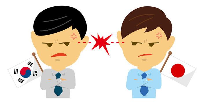Political conflict between nations. Vector flat illustration (male/upper body ). South korea vs Japan