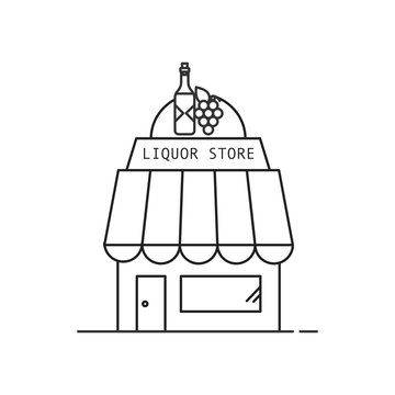 Liquor store icon. Outline thin line icon. Isolated on white background.