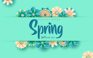 Spring sale. Bright advertising background with flowers, text. The effect of cut paper. Season discount banner design. Vector illustration