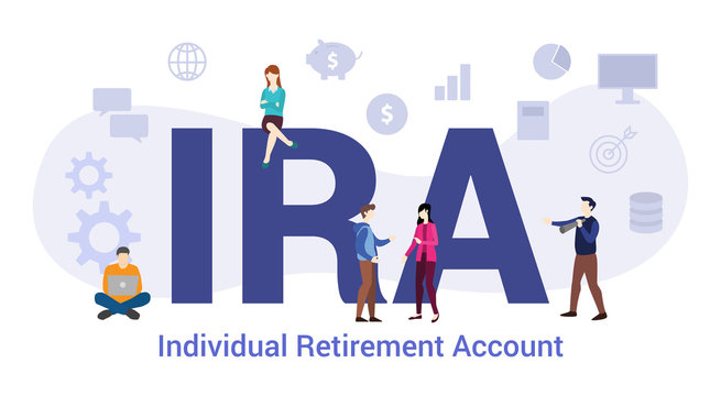 ira individual retirement account concept sop standard operating procedure concept with big word or text and team people with modern flat style - vector