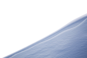 Diagonal snow slope foreground isolated on white background. Element for matte painting, copy space.