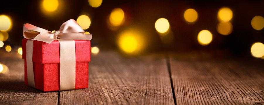 Christmas Gift on festive background