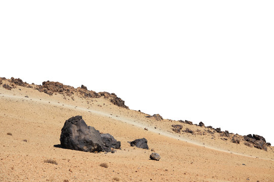 Sand desert wih rocks foreground isolated on white background. Element for matte painting, copy space.
