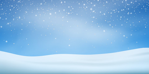 Fotomurales - Snow background. Snowfall, snowflakes in different shapes. Christmas winter snowstorm blizzard