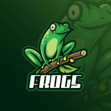 frog mascot logo design vector with modern illustration concept style for badge, emblem and tshirt printing. funny frog illustration.