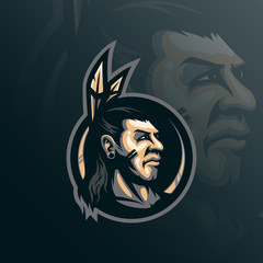 indian tribe mascot logo design vector with modern illustration concept style for badge, emblem and tshirt printing. head tribe illustration.