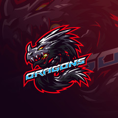 dragon mascot logo design vector with modern illustration concept style for badge, emblem and tshirt printing. angry dragon illustration.