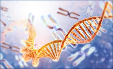 DNA strands on Scientific background. 3d illusation .