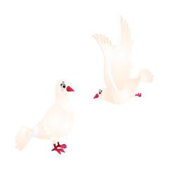 White Dove Birds - Cartoon Vector Image