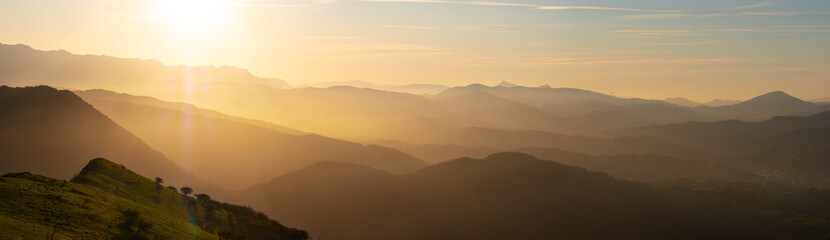 Sun at sunset over the mountains of Gipuzkoa