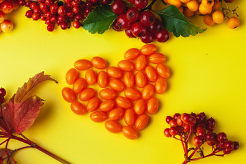 Autumn composition with vitamins and berries. Coenzyme Q 10 pills laid out in the form of a heart. Images for banner, poster.