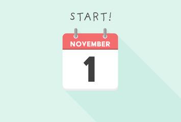 カレンダー・11月・1日イメージ素材:シンプルで見やすい日めくりカレンダー - 11月1日
