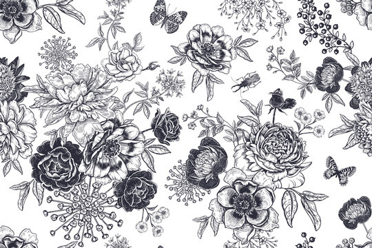Black and white vintage seamless pattern. Flowers, beetles and butterflies.