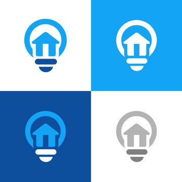 House and light bulb logo icon template, smart home design concept - Vector