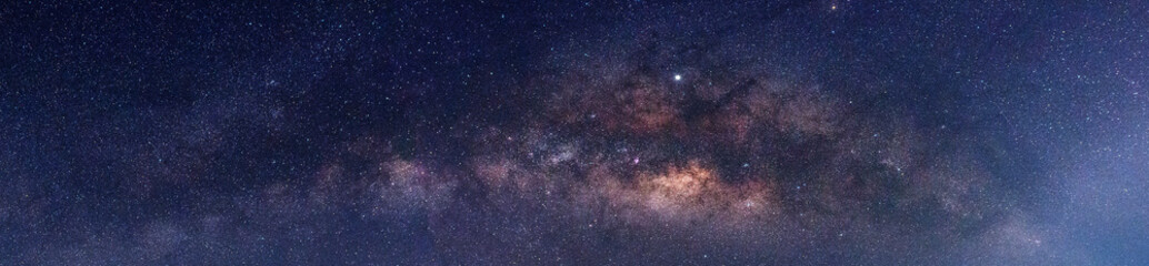 Panorama blue night sky milky way and star on dark background.Universe filled with stars, nebula and galaxy with noise and grain.Photo by long exposure and select white balance.