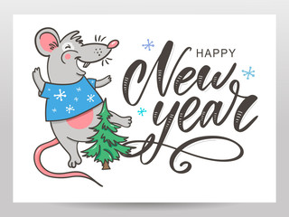 Template image Happy new year party with rat, white background new year 2020. Funny sketch mouse Vector illustration.