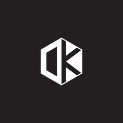DK Logo monogram hexagon with black background negative space style