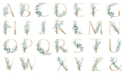 Floral gold alphabet, set letters with watercolor leaf eucalyptus. Monogram initials perfectly for wedding invitations, greeting card, logo, poster and other design. Holiday design hand painting.