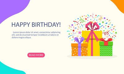 Gift boxes pile with confetti, ribbon and bow. Happy Birthday banner for web, mobile site, infographic, landing page, party invitation, greeting card. Surprise present package. Vector illustration.