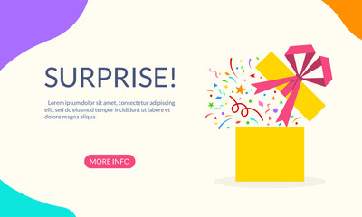 Gift box with confetti, ribbon and bow. Surprise banner for web, mobile site, infographic, landing page, party invitation, greeting card. Present package for Birthday celebration or Christmas. Vector.
