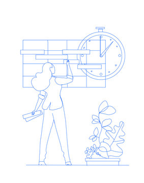 Project planning. Project management. Businesswoman is making task board. Vector illustration