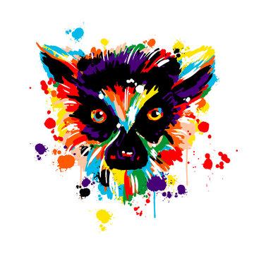 lemur lot of color, brush strokes spray paint, face head lemur, animals Africa,