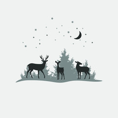 Deer family, vector christmas background with stars and moon