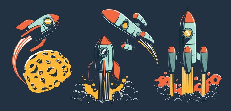 Space rocket of various designs flies in space - set of retro vector illustrations. Vintage spaceship launch to the other planet.