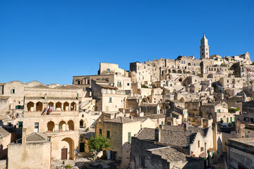 View of the beautiful old town of Matera in southern Italy